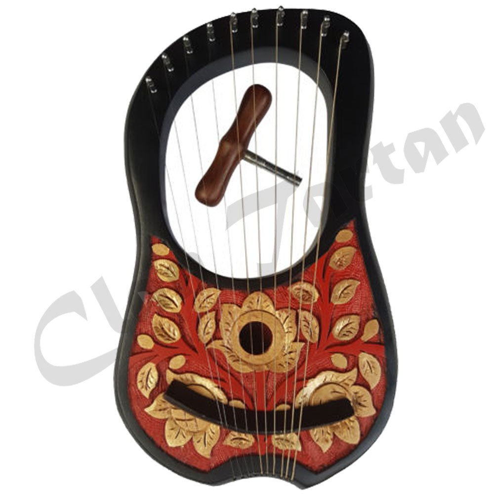 NEW ROSE WOOD LYRE HARP - 10 STRINGS/ HAND ENGRAVED BLACK FINISH LYRE HARPS by AC KILTS/Clan Tartan