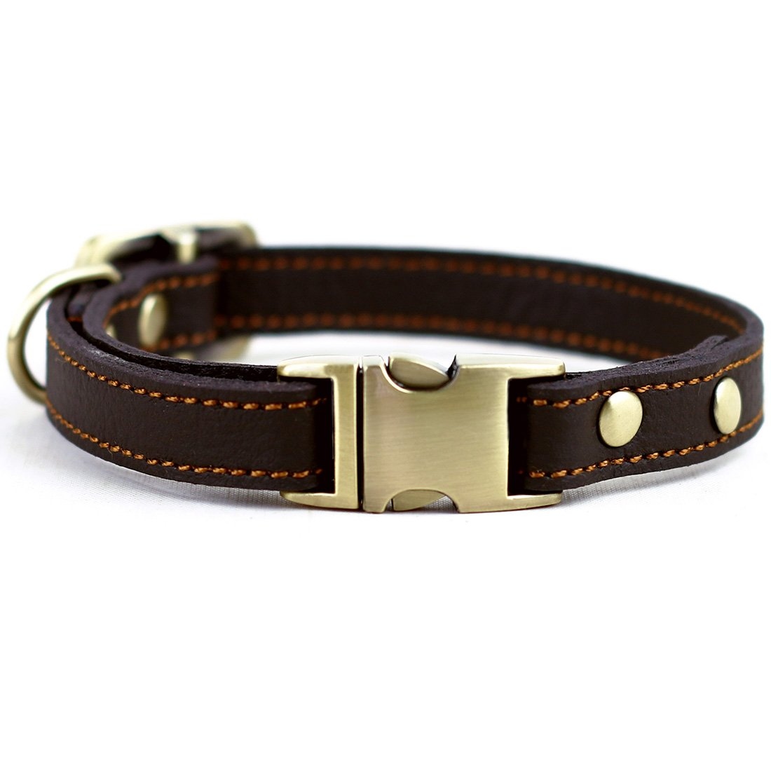 CHEDE Luxury Real Leather Dog Collar- Handmade For Medium Dog Breeds With The Finest Genuine Leather-Best Quality Collar That Is Stylish ,Soft Strong And Comfortable-Red Dog Collar