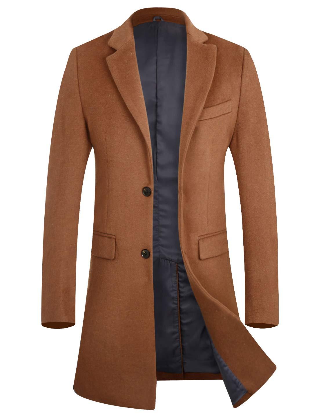 APTRO Men's Wool Blend Trench Coat Above Knee Winter Overcoat 1702 Camel M by APTRO