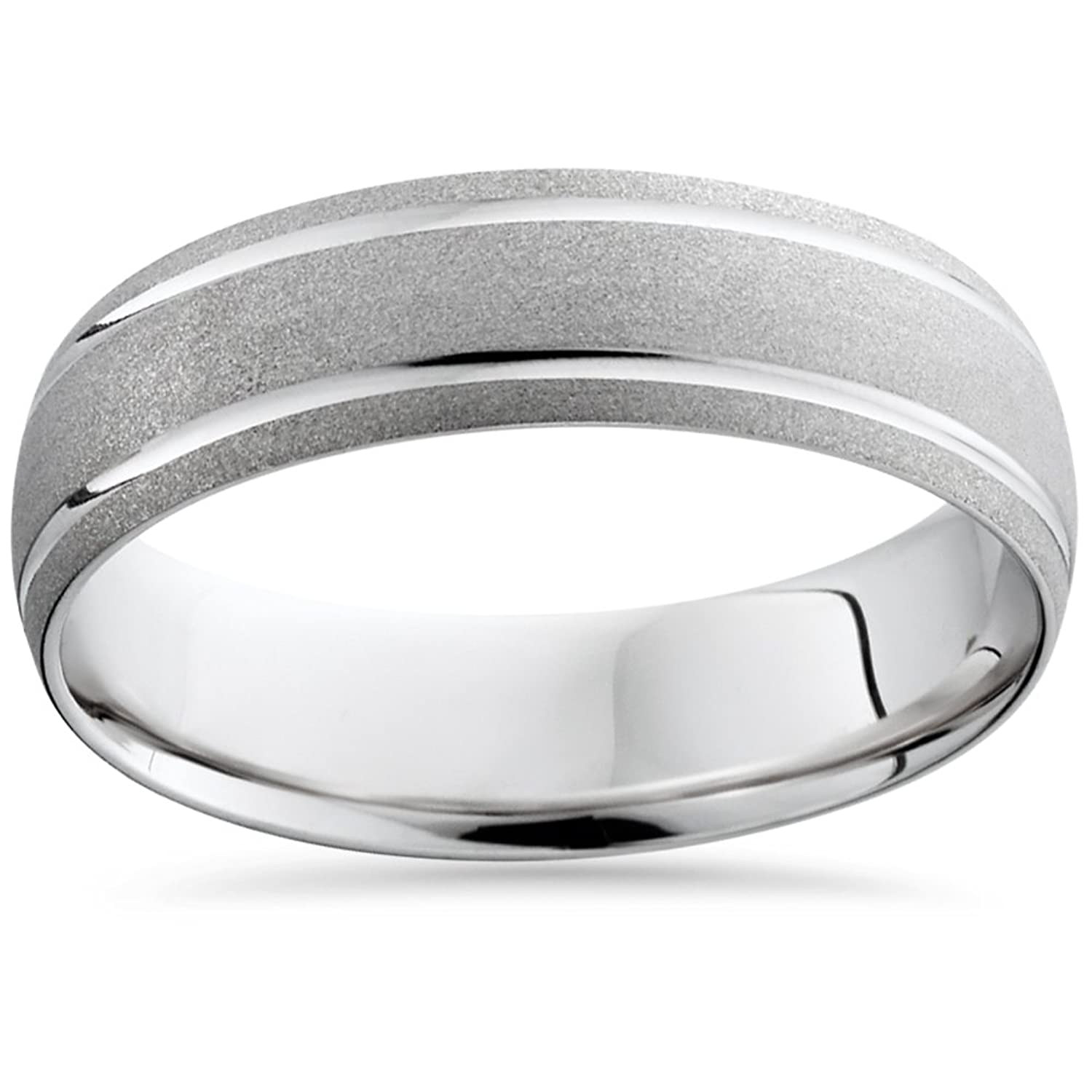 Mens 10K White Gold fort Sandblast Finish Wedding Band