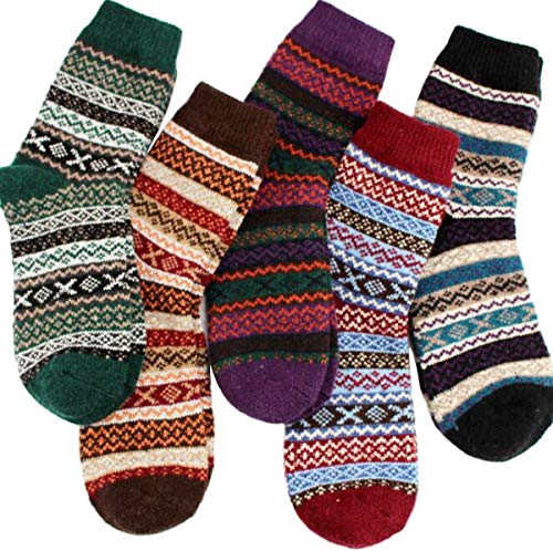 YZKKE 5Pack Womens Vintage Winter Soft Warm Thick Cold Knit Wool Crew Socks, Multicolor, free size (Best Fair Isle Sweaters)