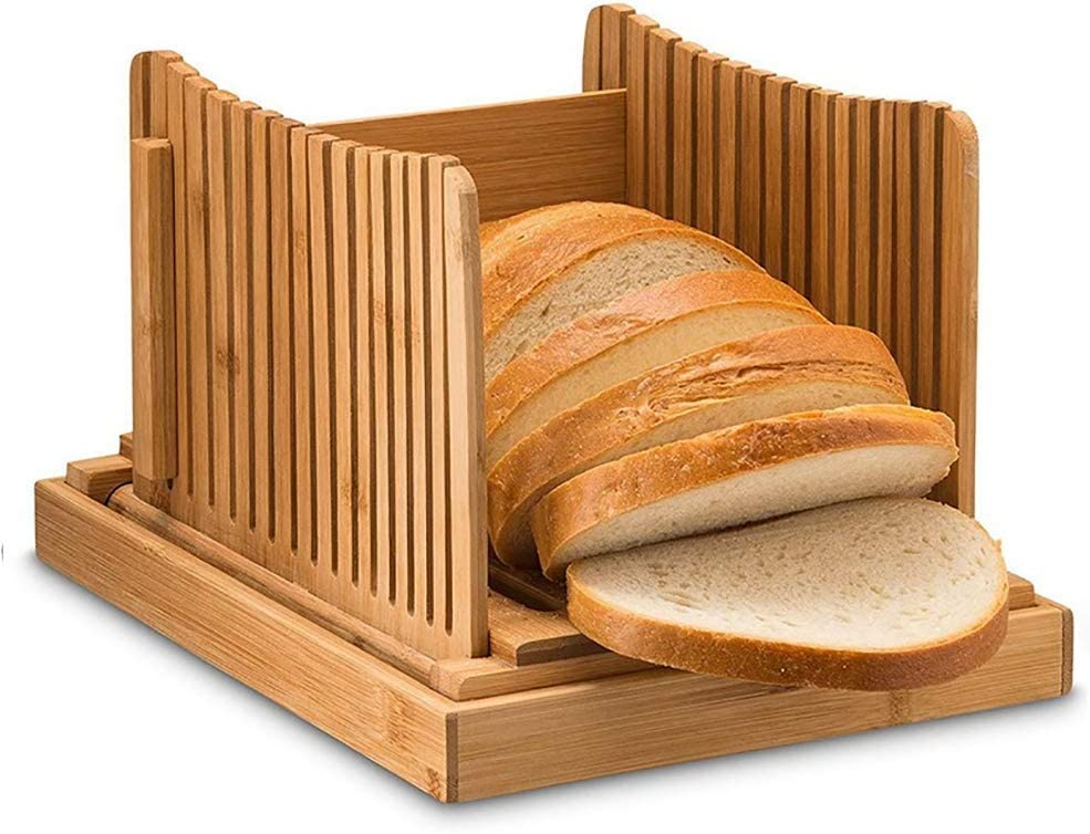 Bamboo Wood Bread Slicer Cutting Guide Foldable Multifunctional Bread Cutter with Crumb Tray for Homemade Bread Loaf Cakes Toast & Cake