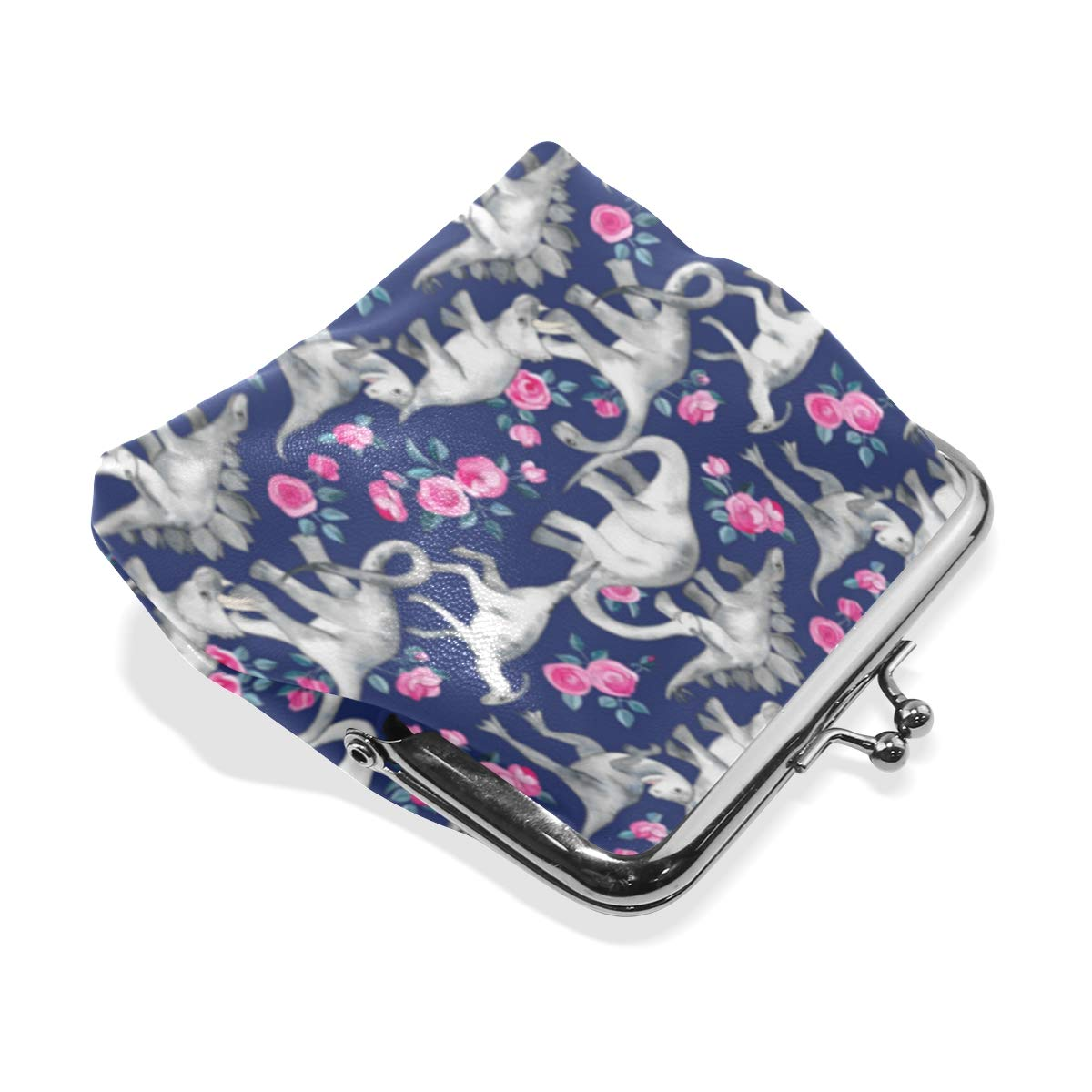 Dinosaurs Roses Blue Purple Coin Purse Buckle Vintage PU Pouch Kiss-lock Wallet for Women Girl