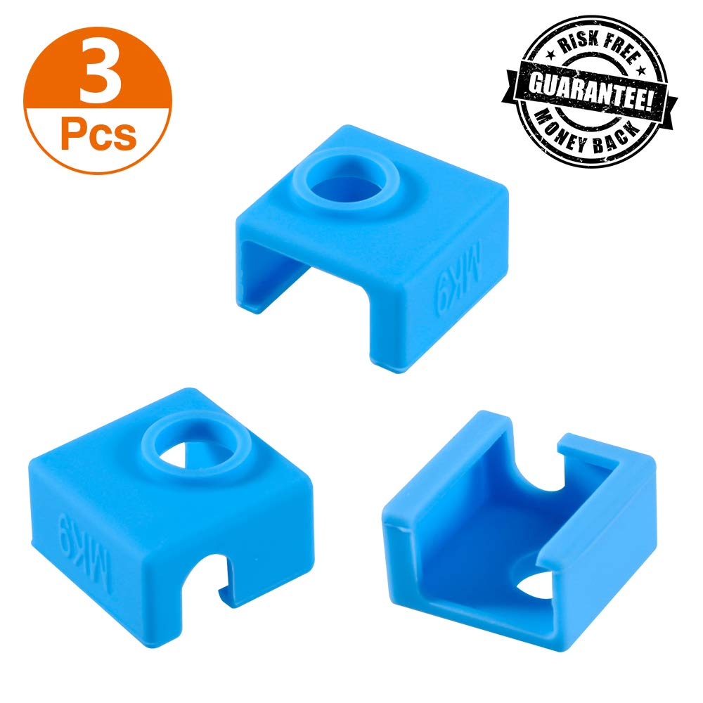 3D Printer Heater Block Silicone Cover, Aokin MK7 MK8 MK9 Silicone Sock for MK7/8/9 3D Printer Hotend Extruder, Creality CR-10, S4, S5, Ender 3, Anet A8 (Blue)