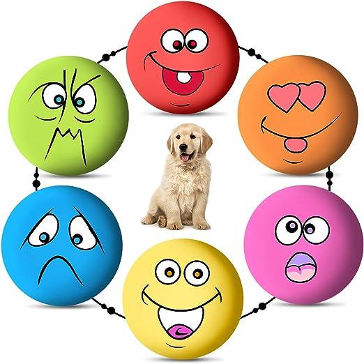 Juguetes de látex blandos para perro, 6 unidades, juguete de goma para masticar, pelotas de emoticonos para cachorros, mascotas pequeñas y medianas, perros y gatos: Amazon.es: Productos para mascotas