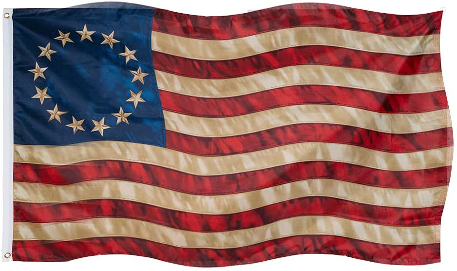 Betsy Ross Flag 3x5 Ft Vintage Tea Stained 13 Stars American Flags Colonial Primitive Decor Outdoor with Brass Grommets Vivid Colors