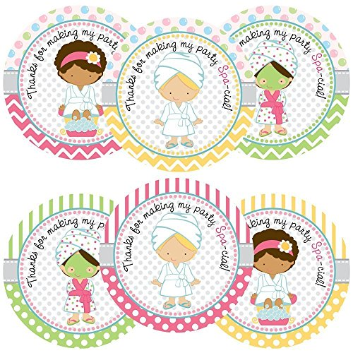 Girl Spa Party Sticker Labels - Birthday or Baby Shower Favor Labels and Envelope Seals - Set of (Slumber Party Sticker)