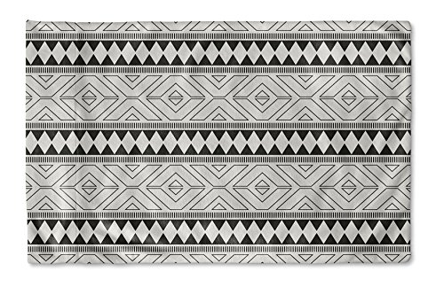 KAVKA Designs Seville Grey Pillow Case, (Black/Grey) - NAVAJO Collection, Size: 40X20X1 - (MGTAVC2018PC42) - Casa Seville Collection