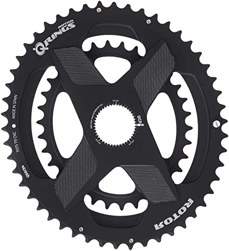 R ROTOR BIKE COMPONENTS Q Rings DM Oval Chainring 52/36 T Black ...