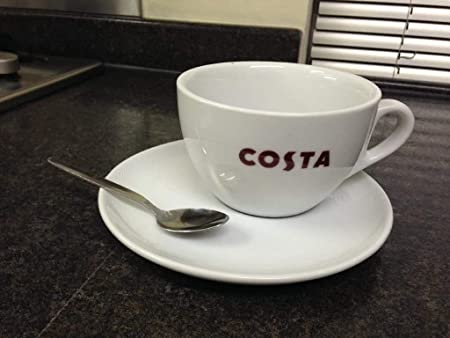Costa Coffee Large Cup With Saucer And Spoon Medio Mug 454ml 16oz