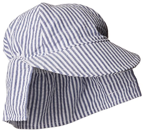 Cap Face Happy (Flap Happy Baby Boys' Cotton Poplin Hat, Chambray Stripe Seersucker, Large)