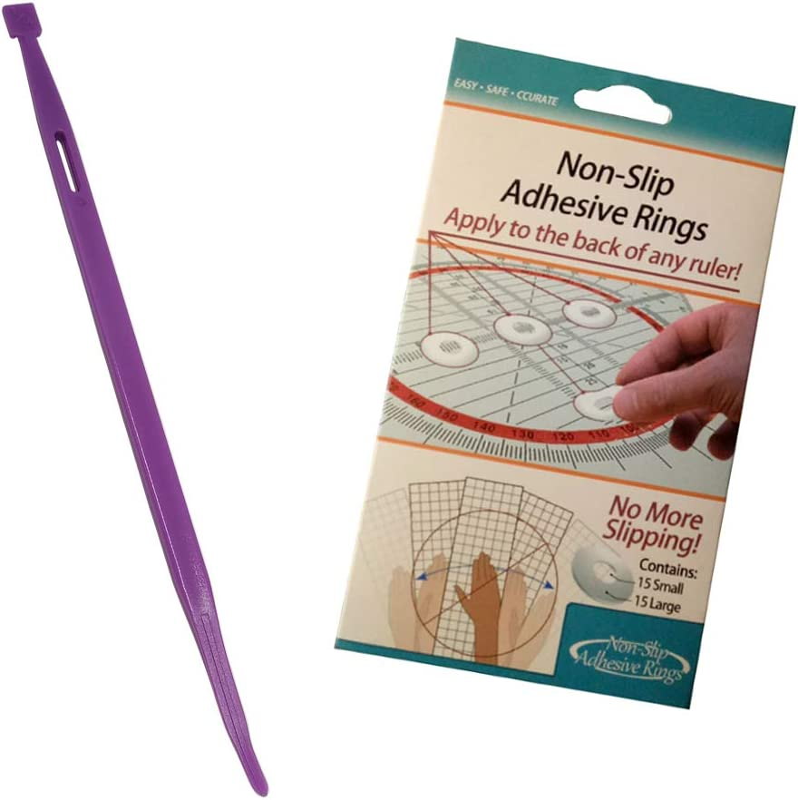 1pack Non-Slip Rings HONEYSEW Little Foot TPT That Purple Thang with Crafters Workshop TrueCut Non-Slip Adhesive Rings Ruler Grips