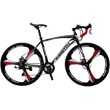 VTSP XC550 Road Bicycle 700Cx28C Steel Hard Frame 21 Speeds Road Bike Solid Wheel Integrated Wheel Curved Handlebar Double Disc Brakes Cycling Gifts For Man Promotion US Warehouse (WHITE)