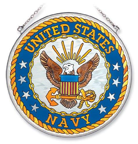 Navy Suncatcher (Amia Large Circle Suncatcher, United States Navy, 6.5-Inch)