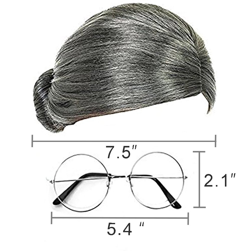 Costume Old Lady Wig, Gray Wig Women\'s Cosplay Wig with Glasses Costume Accessories for Dress Up Perform, 2 PCS