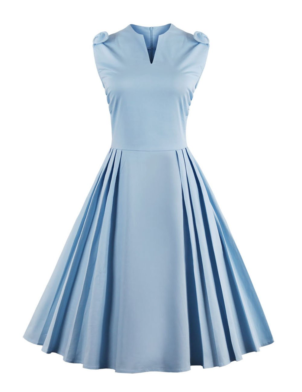 Mulanbridal Women's Retro Floral 50s Vintage Style Cap Sleeve Casual Cocktail Party Swing Dress Light Blue 3XL