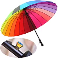 24K Rib Large Color Rainbow Umbrella Fashion Long Handle Straight Anti-Uv Sun/Rain Stick Umbrell (Fully-Automatic)