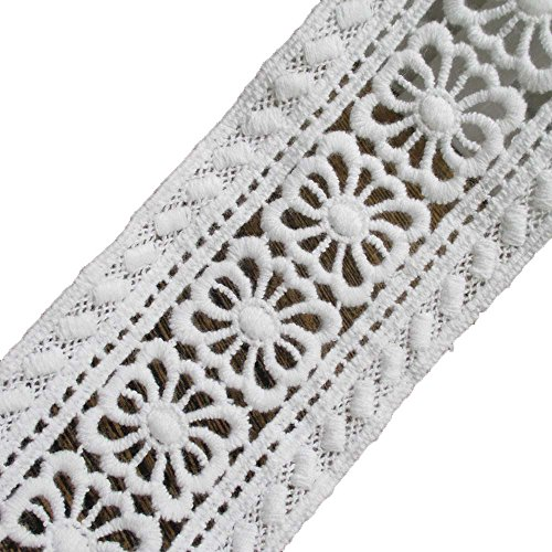Cotton Embroidered Lace Trims Eyelet Fabric Cotton Tape 2-1/4 Inch Wide Pack of 14 (Eyelet Edging)