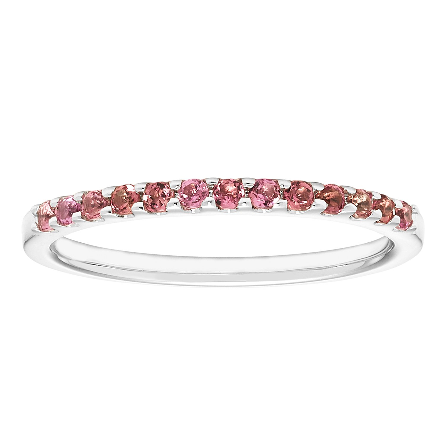 14K White Gold 1.04 Tgw. Pink Tourmaline October Birthstone Stackable 2MM Band Ring
