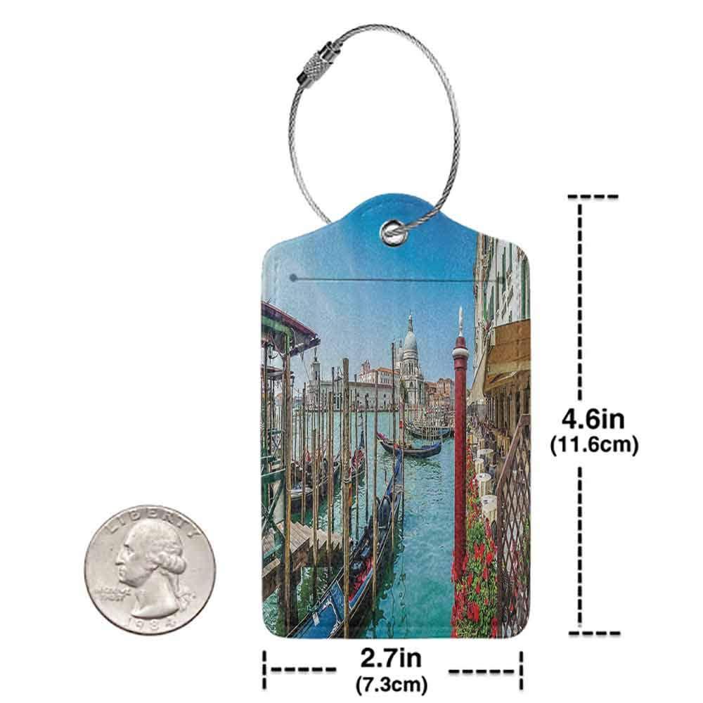 Durable luggage tag Wanderlust Decor Collection Gondola in Canal Grande with Basilica di Santa Maria Della Salute in Sunny Day Image Unisex Teal Red W2.7 x L4.6