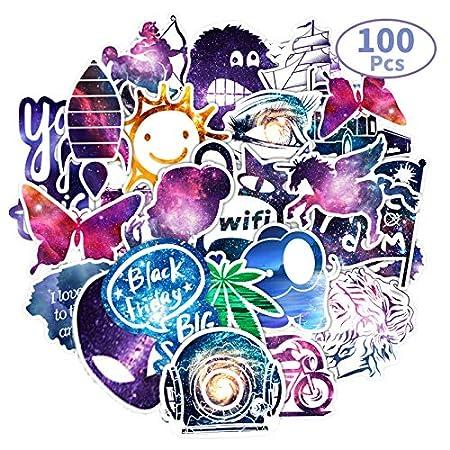 100 pezzi Adesivi in Vinile,Sticker per Graffiti in Adesivi Galaxy per Bagagli Adesivo per Laptop,Casco da Sci,Taccuino,Valigia Skateboard Telefono Chitarra Bottiglie di Acqua Adesivo Impermeabile