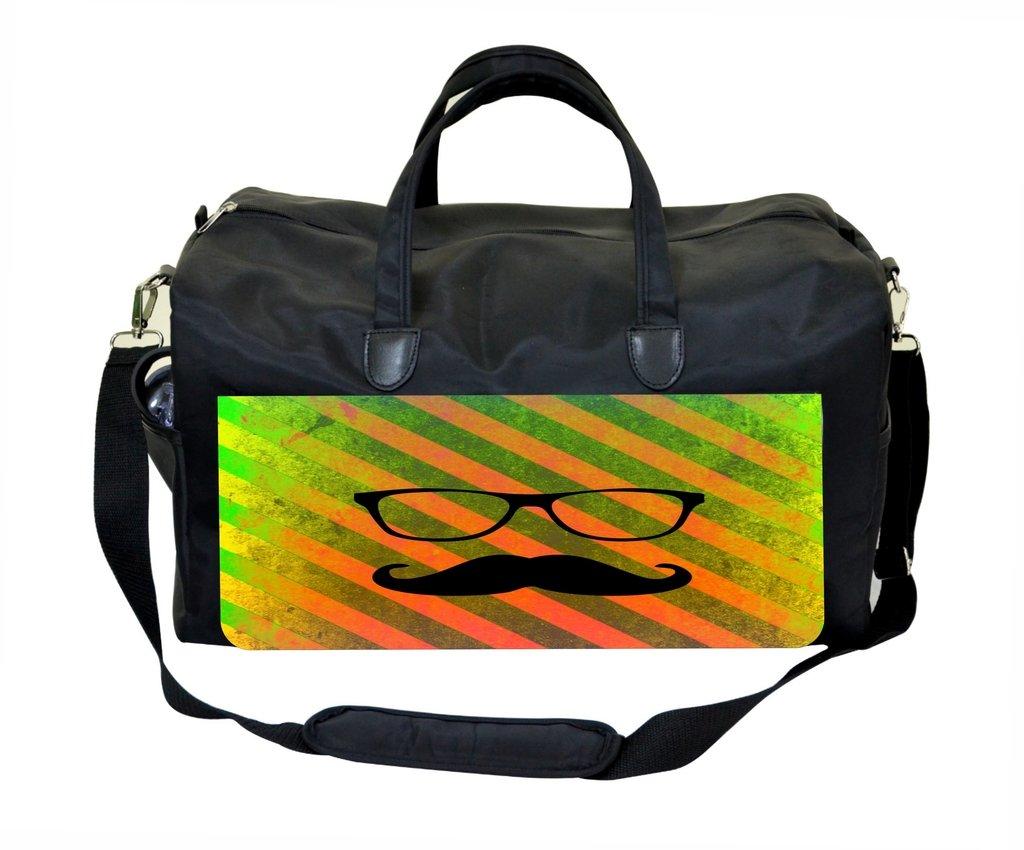 Shades and Mustache on Orange Stripes Weekender//Overnighter Bag