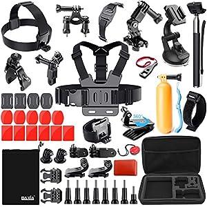 BAXIA TECHNOLOGY 44-in-1 Accessories for GoPro HERO 5 Session 4 3+ 3 2 1 Black Silver SJ4000/5000/6000, Sports Camera Accessories for Xiaomi Yi/ AKASO/ WiMiUS/ Lightdow/ DBPOWER/ APEMAN/ Aokon/ ANART