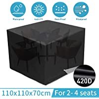 king do way Outdoor Patio Furniture Covers Waterproof 110 X 110 X 70cm Patio Furniture Covers 420D Oxford Patio Furniture Set Covers, Windproof, Anti-UV, for Patio, Outdoor Black (43