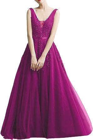 Milano Bride Damen Huebsch V-Ausschnitt Abendkleid Tuell Ballkleider  Promkleider Spitze Applikation Band Lang-