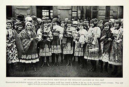 1929 Print Czechoslovakian Eastern European Costume Traditional Dress Garb NGM9 - Original Halftone (Czechoslovakian Costumes)