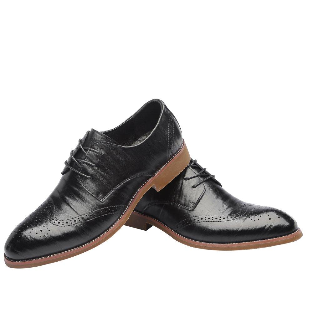 Black FeiNianJSh Men's Genuine Leather shoes Men's Lace Up shoes Business Brogue shoes Breathable Matte Wingtip Hollow Carving Lined Oxfords