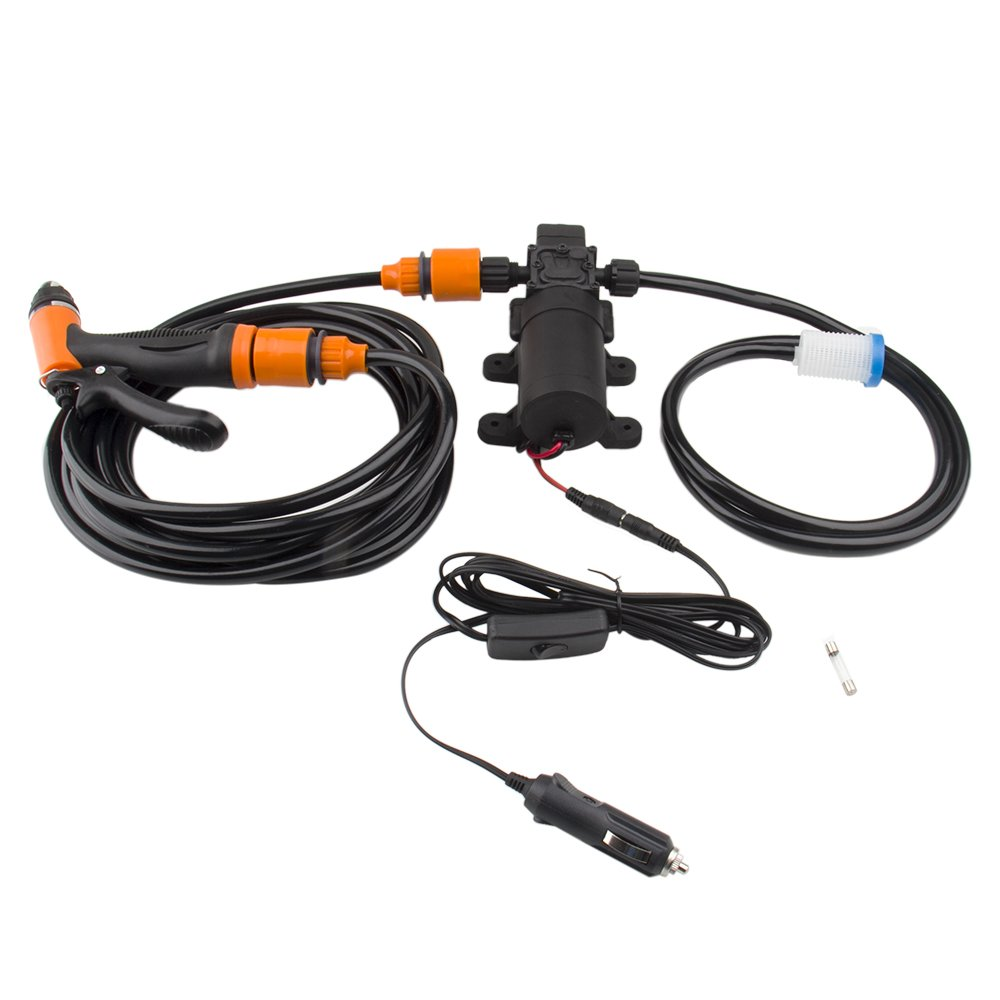 Bang4buck Portable DIY Pressure Washer Pump 12V 100W 160PSI High Pressure Pump with 21.32 Inch PVC Hose for Home, Garden, Vehicles, Projects