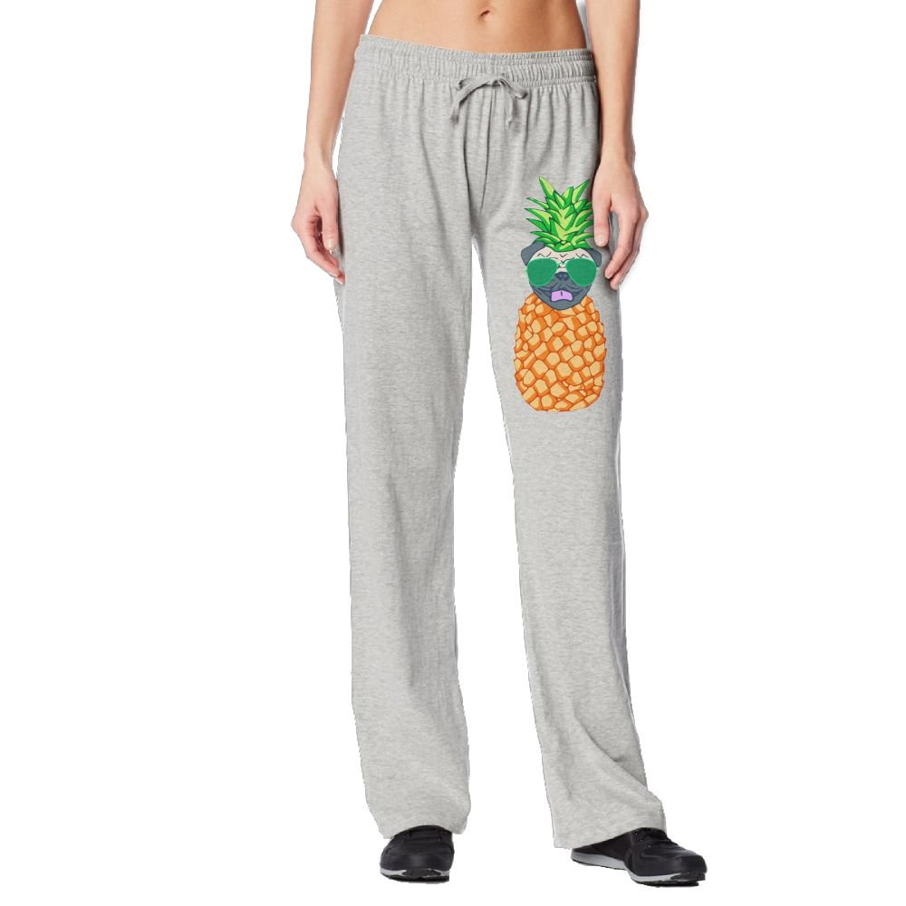 Pineapple Glasses Pug Women Sweat Pants With Pockets 100% Cotton