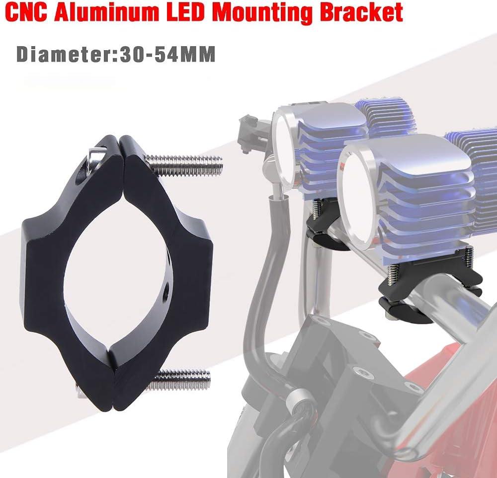 1PC Supports de montage de phare de moto,30MM-54MM Support de montage de Tube de Lampe de Travail Universel Support de Brouillard Montage de phare antibrouillard Accessoires Auto