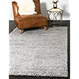 Unique Loom Solo Solid Shag Collection Modern Plush Cloud Gray Rectangle (4' x 6')