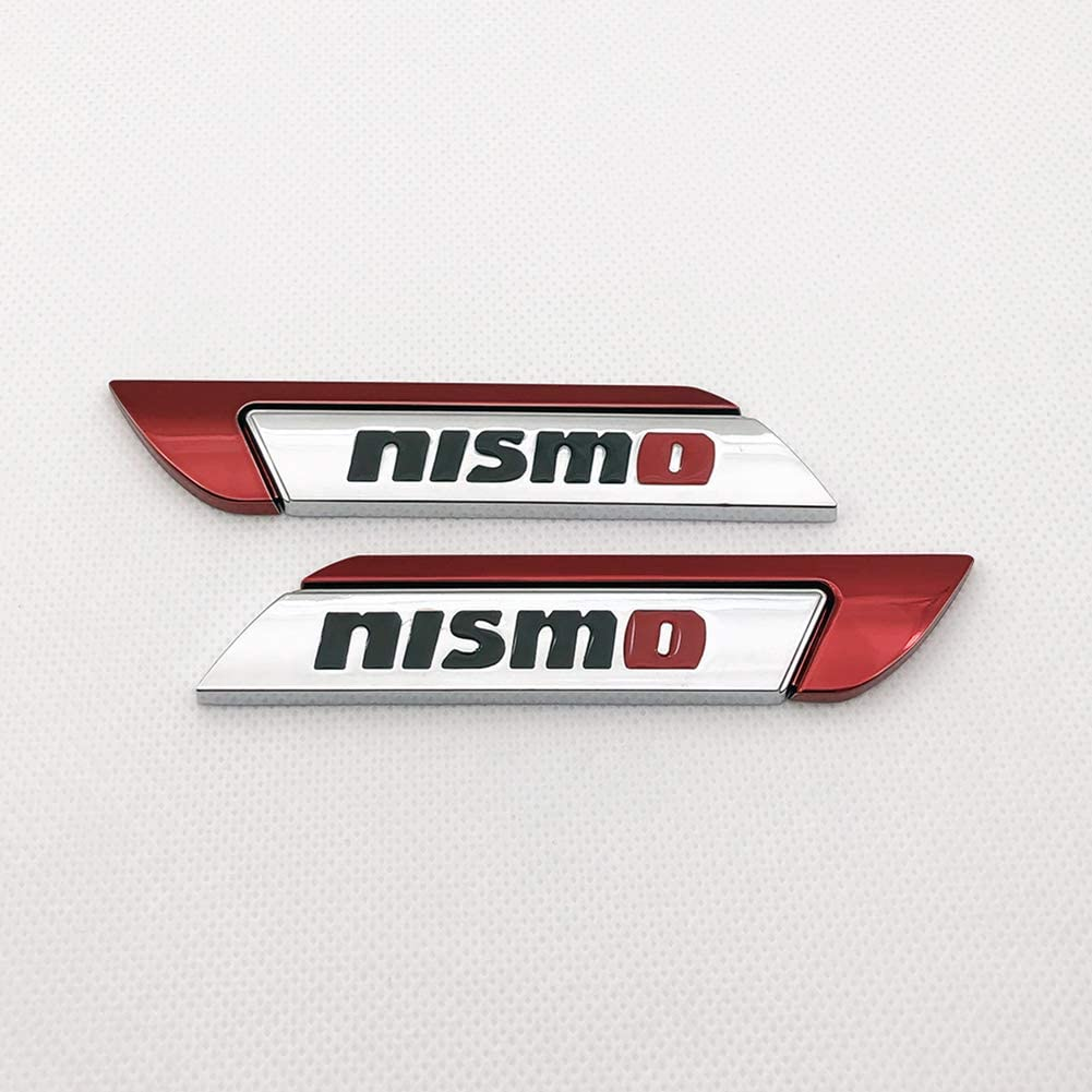 amazon com pair chrome metal nismo logo car emblem premium 3d auto side fender badge gtr racing sport sticker turbo power decal red automotive pair chrome metal nismo logo car emblem premium 3d auto side fender badge gtr racing sport sticker turbo power decal red