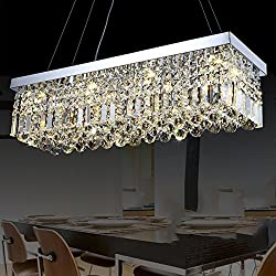 "Siljoy Modern K9 Crystal Pendant Chandelier Lighting Rectangular Ceiling Light Fixture for Dining Room Kitchen Island L31.5"" x W9.9"" x H8.9"""