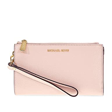 65efe098ad25e2 MICHAEL by Michael Kors Adele Soft Pink Leather Double Zip Wristlet one  size Soft Pink: Amazon.co.uk: Clothing