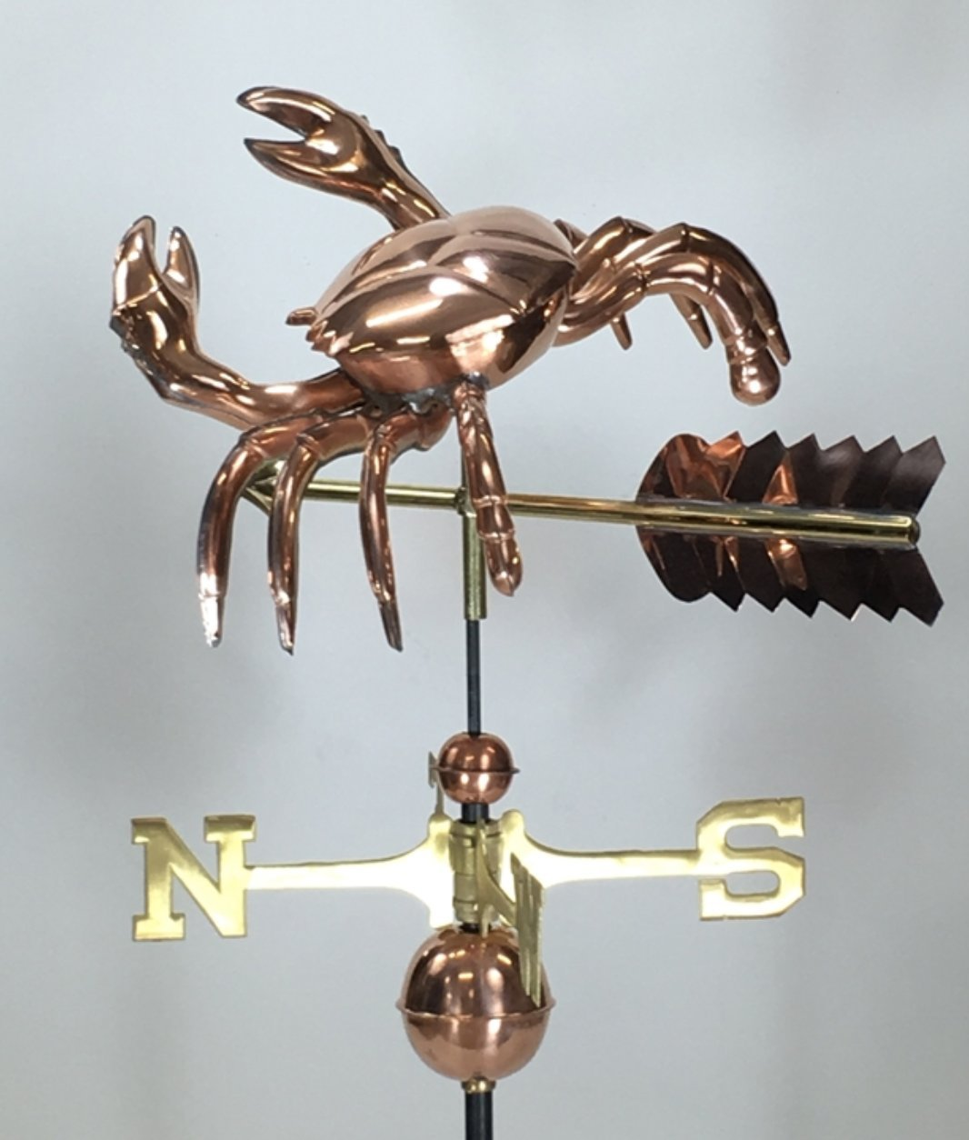 East Coast Weathervanes and Cupolas Crab Weathervane Polished Copper