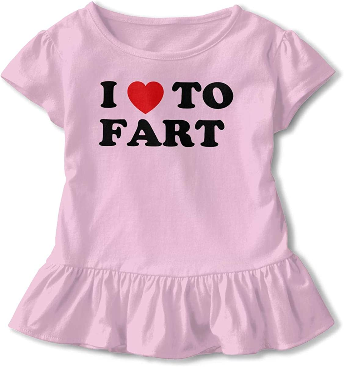 I Love to Fart Shirt Baby Girls Ruffles Cute T Shirts for 2-6 Years Old Baby