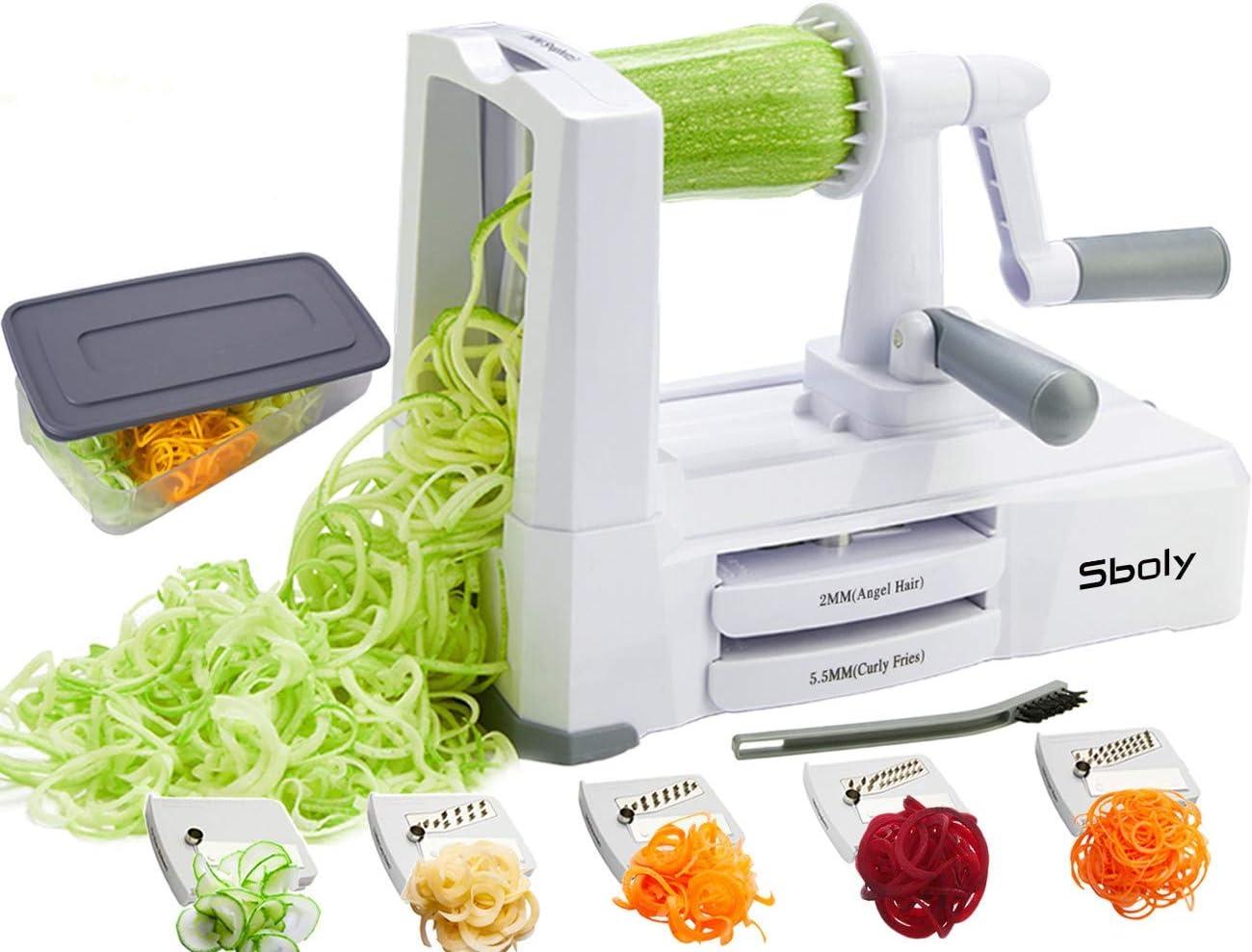 Espiralizador de verduras con 5 cuchillas, cortadora de verduras ...