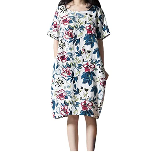 e31f2366eb008 Usstore Women s Cotton Linen Mini Dress Plus Size Casual O-Neck Short Sleeve  Loose Flowers