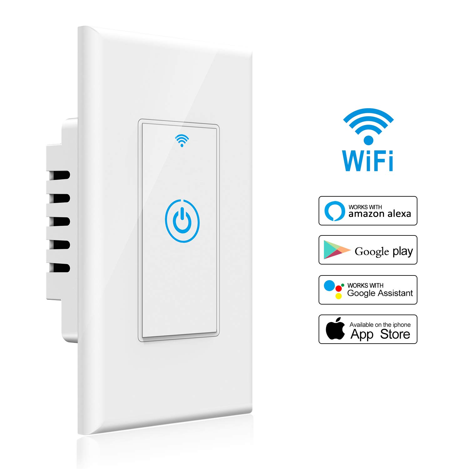 Smart Light Switch - Gosund Smart Wifi Light Wall Switch 15A Touch Timing Function Remote Control From Anywhere, Works with Alexa, Google Assistant And IFTTT, No Hub Required (1 pack)