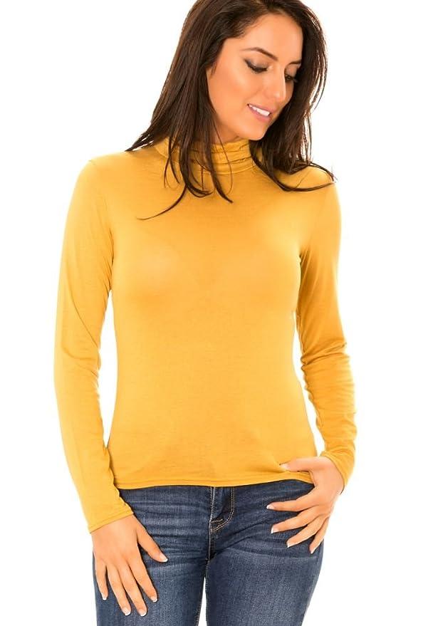 992228e8a171 dmarkevous - Sous-pull basic femme jaune moutarde à col roulé - Unique
