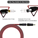 12V-24V DC Car Charger Auto Power Supply Cable - DC 5.5mm x 2.1mm to Car Cigarette Lighter Male Plug Car Cigarette Lighter Cable
