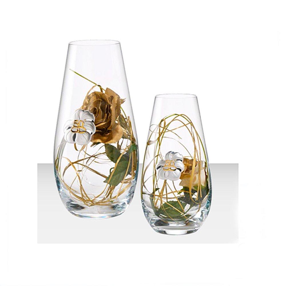 Vaso Anniversario Matrimonio 50° | Cristallo | Fedi dorate | 30 cm | C1701/C | 2R argenti