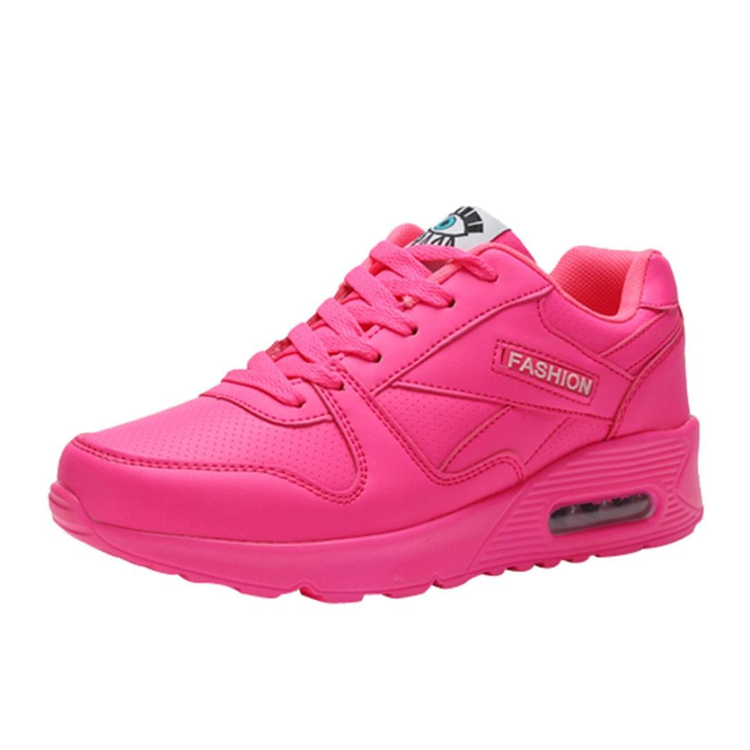 2018 Women Girls Shoes Casual Lightweight Wedges Sneakers for Outdoor Walking (Hot Pink, US:7.5)