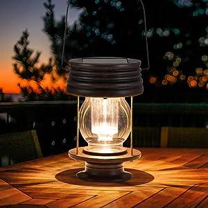 "Hanging Solar Lights Outdoor - 8.3"" Solar Powered Waterproof Retro Lanterns, Bright Landscape Lanterns Lamp, 30 Lumen, 1 Pack, Great Decor for Patio, Yard, Garden and Table (Warm White)"