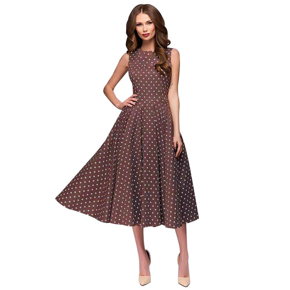 Finedayqi  Womens Dot Sleeveless Hebburn Vintage Zip Cute Floral Knee Length Dress (Brown, L)