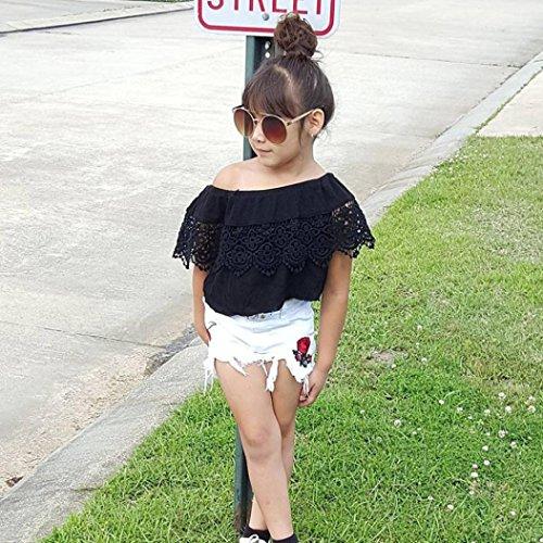 Conjunto Rope para bebe niña verano SHOBDW Hombro Camisa para Niñas sin tirantes blusa moda Tops para chica pantalones cortos+blusa: Amazon.es: Ropa y ...